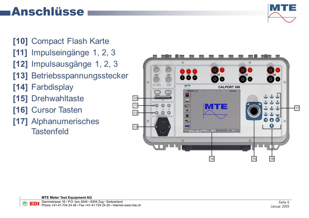 Anschlüsse [10] Compact Flash Karte [11] Impulseingänge 1, 2, 3